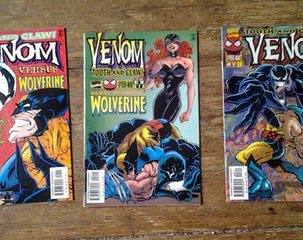 Venom: Tooth and Claw; Vol 1, 1 - 3 Full Limited Series Modern Age Comic Book Lot.  NM.  1996.  Marvel Comics