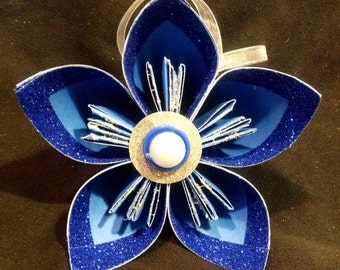 """5"""" blue Kusudama origami ornament, package topper with blue glitter accent"""