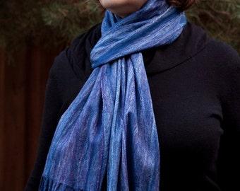 Hand felted scarf, wool scarf, felt, silk fibers