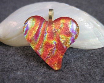 HEART OF FIRE, Dichroic Glass Pendant Necklace