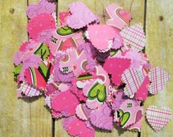 25 Assorted Confetti Die Cut Wedding Hearts, Wedding Shower, Birthday confetti, Valentines die cut, heart cut outs, table decorations