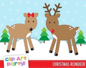 Reindeer Clip Art, Christmas Clip Art, Reindeer clipart, Christmas tree clip art, PNG Images, Instant Download - CA013