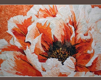 Card: Textile Art with Flower ( C02)
