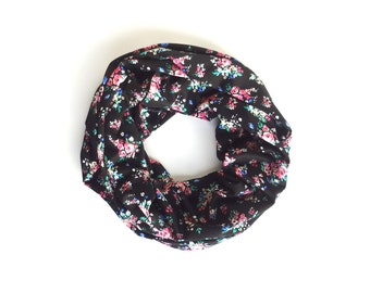 Floral Infinity Scarf, Pink Black Scarf, Jersey Scarf, Boho Chic, Winter Scarf