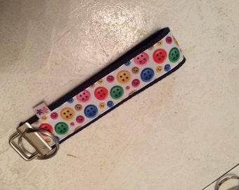Buttons wrist key chain key fob wristlet
