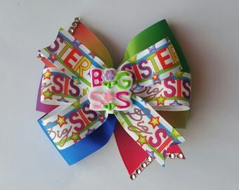 Big Sister Hair Bow - Gradient Double Layer Pinwheel