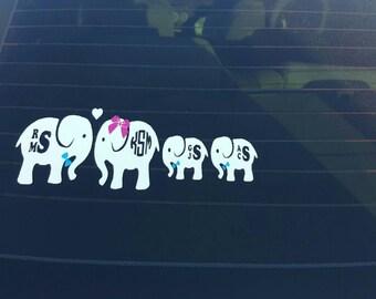 Elephant family decal.