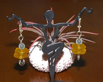 Sterling Silver Yellow Beach Sea Glass Leverback Earrings