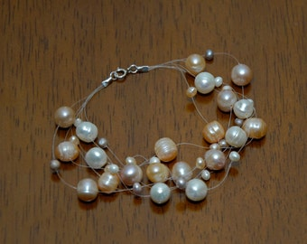 Wedding Prom Bridal Sterling Silver Floating Pink Lavender White Pearl Illusion Bracelet