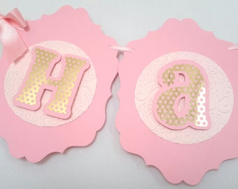 Gold and Pink Banner, Happy Birthday Banner, Girl Birthday Party.