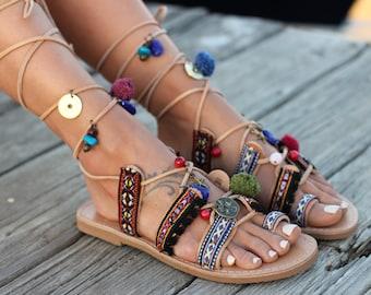 "Greek Sandals. Tie up Gladiator Leather Sandals. Boho Style. Greek Genuine Leather Handmade Sandals. ""Athena"""