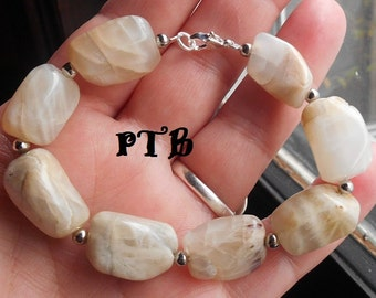 Spiritual Guidance ~ Authentic Large Natural Moonstone Nugget Gemstone Bracelet 7.5""