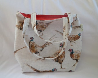 Tote bag with pheasant design