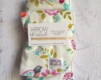 Bib & Burp Cloth Gift Set - Baby Girl Bibs - Burp Cloths - Floral - Flowers - Birds - Peach, Coral, Green, Pink, Blue - Burp Rag
