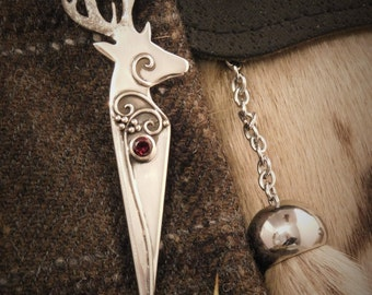 Scottish Stag Kilt Pin, Wedding, Highlander, Kilt, Ancient Scotland, Traditional, Sterling Silver
