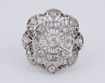 Antique Right Hand Ring Edwardian 2.35cttw Old Mine Cut Diamonds in 18k White Gold & Platinum