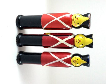 Vintage Wooden Soldier Skittles Bowlling Bowls Hand Painted Skittle Game Toys Red Black British
