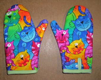 Child oven mitts pair-Happy Cats