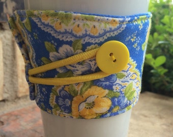Coffee Cozy Mug Sleeve Java Jacket Drink Cozy Fabric in Blue Green and Yellow