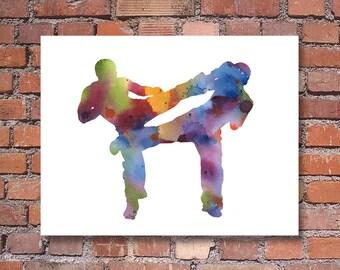 Kick Boxing Art Print - Abstract Watercolor Painting - Wall Decor