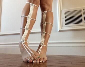 Crocheted wedding day/wedding night barefoot sandals