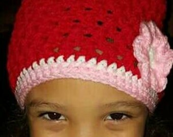 Crochet childeren beanie with and without brim
