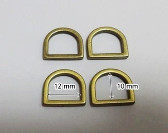 10 Pcs, 12 mm Metal D Ring, Antique Brass, High Quality, for Webbing Strap, Handbag Hardware