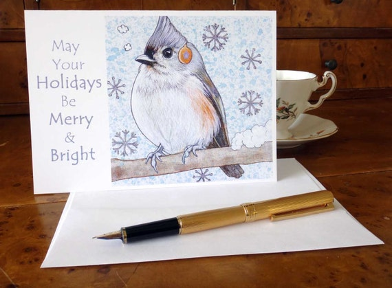 Tufted Titmouse wild bird christmas card or cards
