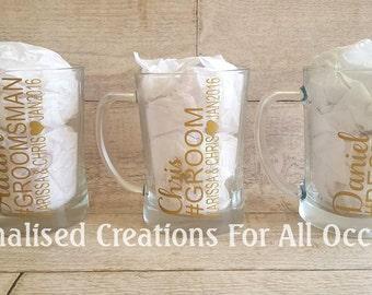 Personalised Groom Groomsman Bestman Beer Mug Glass Groom Gift