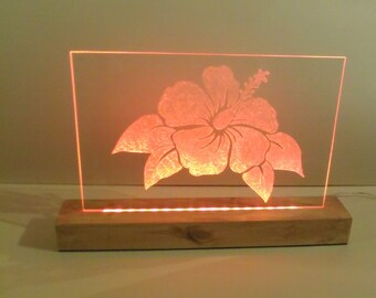 LED Etched Battery Operated Multicolored Hibiscus, Nursery Room Light, Child's Nightlight, Modern, LED Acrylic Sign