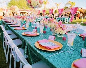 Turquoise Sequin Tablecloth, Rectangle Table Cloth, Sequin Table Cloth  Wedding, Frozen Theme Party