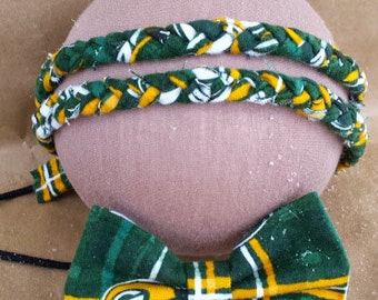 Packer's Headband Pet and Owner Matching Set; Packers Braided Headband; Wisconsin Dog Bow Tie; Pet and Owner Matching Green Bay Set