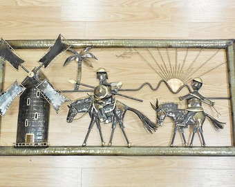 Vtg Don Quixote & Sancho Panza Metal 3D Wall Art w/ Moving Windmill Blades 37x18