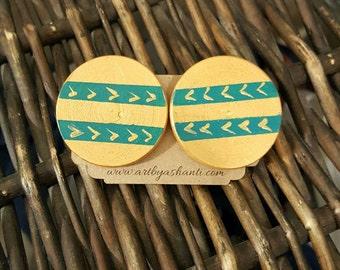 Handpainted earrings, handmade earrings, statement earrings, wooden earrings, stud earrings