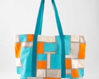 Color Block Turquoise and Orange and Gray Large Square Bottom Tote