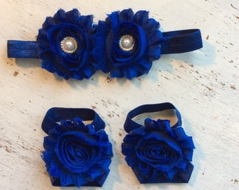 Baby headband and Barefoot sandals; baby barefoot sandals; navy sandal; toddler barefoot sandal; sandal