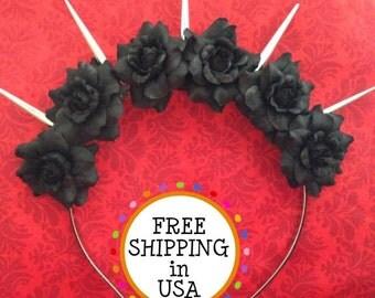 Black Mini Rose Spiked Flower Crown Headband