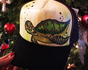 Hand painted turtle trucker hat