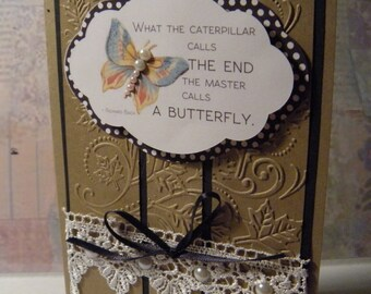 What the Caterpiller....5x7 Handcrafted greeting card