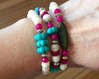 Colorful bracelet set, turquoise bracelets, boho stackable bracelets, magnesite bracelets, layered bracelets, cowgirl jewelry, set of three