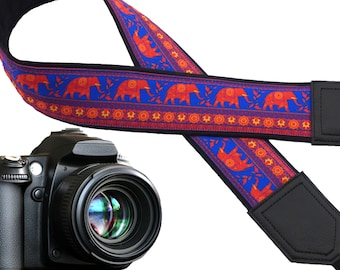 Lucky Elephant camera strap. Ethnic camera strap. Bright DSLR/SLR Camera Strap. Camera accessories by InTePro