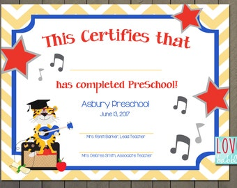 Preschool graduation etsy kindergarten preschool graduation commencement diploma music award certificate printable digital file 85 yadclub Image collections