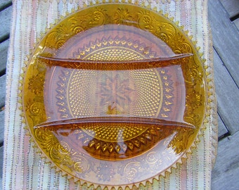 Amber Tiara Glass Divided Plate Appetizer Dish Relish Tray Sandwich Glass 1970s