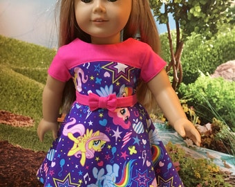 """18"""" doll dress.  Fits most 18"""" dolls including American Girl and many others.  The fabric is my little pony. Dress has a detachable belt"""