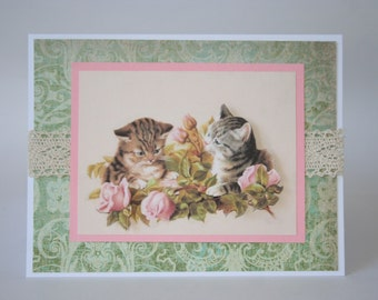 Handmade Greeting Card Cat's with Roses