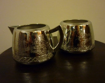 Vintage 1960's Swan Brand Cromalin Plated Milk jug / creamer and sugar bowl, Willo Ware. Made in England. New/Old Stock.