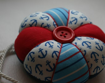 Large Round Nautical Themed Print Quilted Pincushion, Red,White and Bue