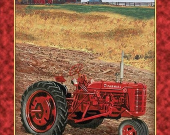 Farmall, International Harvester Red Tractor Panel, cotton fabric by Quilting Treasures