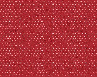 Dear Stella, Hearts Crimson cotton woven fabric