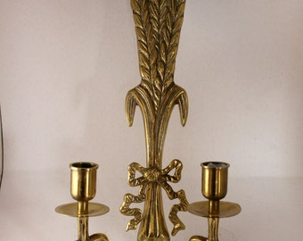 Vintage Brass Wall Candle Holders.